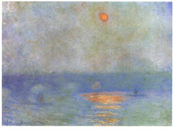Claude Monet-Waterloo Bridge - Sun behind a curtain of fog