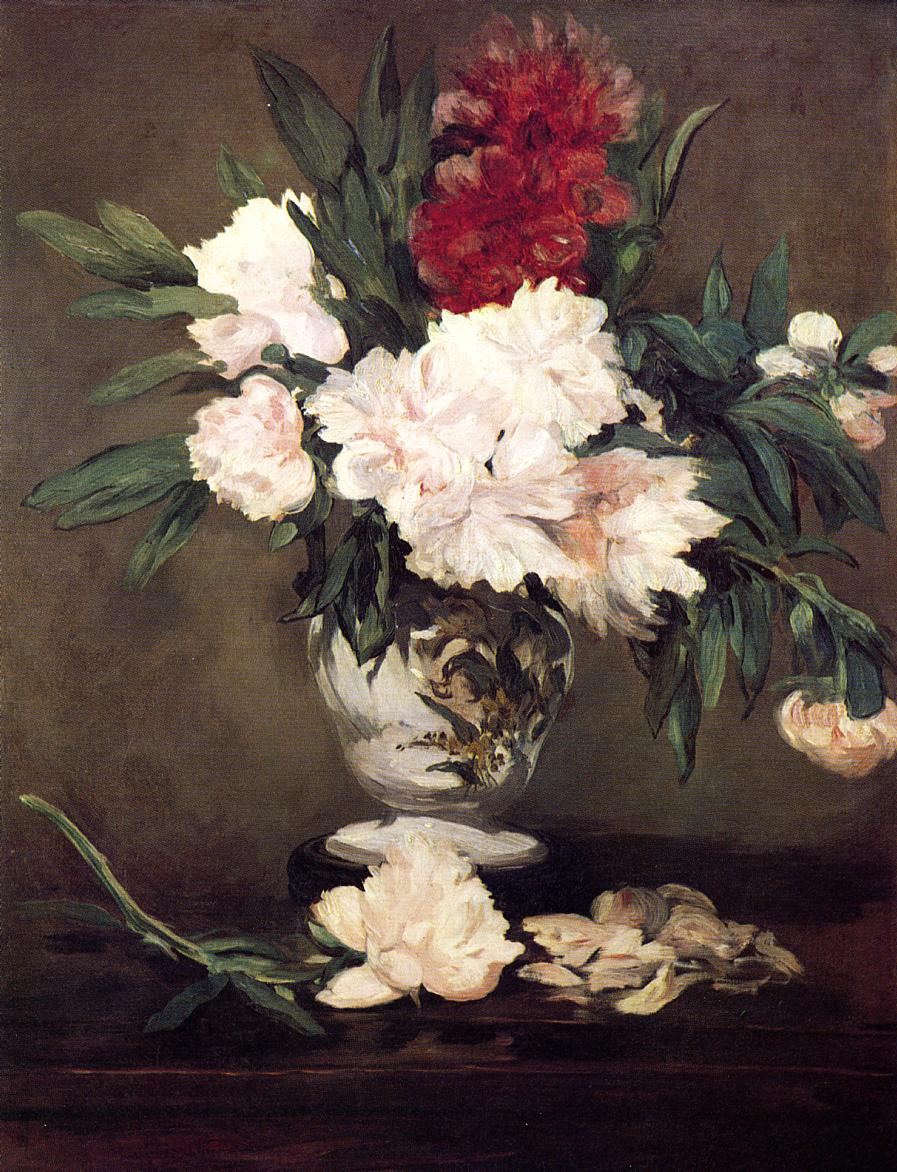 Édouard Manet - Peonies in a Vase on a Stand – 1864