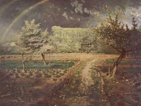 Jean François Millet - Paysage de printemps avec arc-en-ciel (Le Printemps)