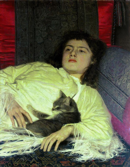 Ivan Kramskoy - Girl with a Cat. (Portrait of Sophia Kramskaya).JPG