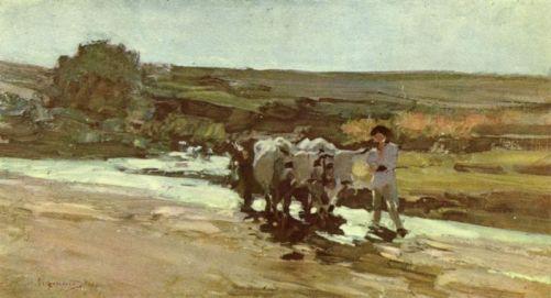 Nicolae Grigorescu -Car cu boi prin vad