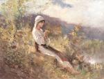 Nicolae Grigorescu -Taranca stand in iarba