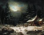 Cornelius Krieghoff - White Horse Inn by Moonlight