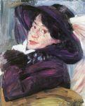 Lovis Corinth - Damenporträt mit lila Hut