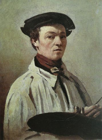 Jean-Baptiste-Camille Corot - Self-portrait with palette in hand