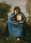 Jean-Baptiste-Camille Corot - The Reader Crowned with Flowers