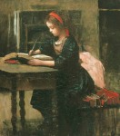 Jean-Baptiste-Camille Corot. Young girl being studied writing