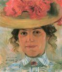 Lovis Corinth - Porträt Frau Halbe mit Strohhut