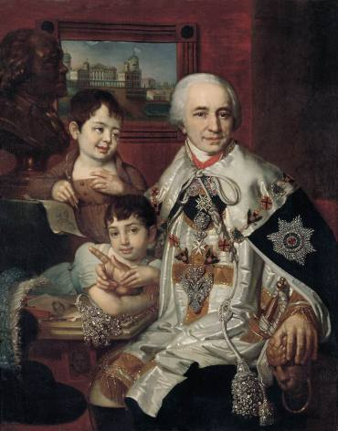 Vladimir Borovikovsky - Portrait of count G.G. Kushelev with children