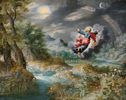 Jan Brueghel the Younger - God creating the Sun, the Moon and the Stars