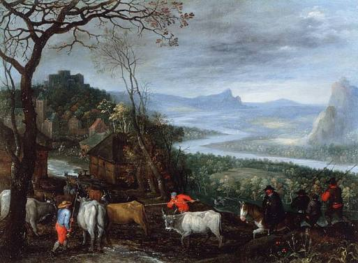 Jan Brueghel the Younger - Panoramic Landscape with the return of the cattle to the village