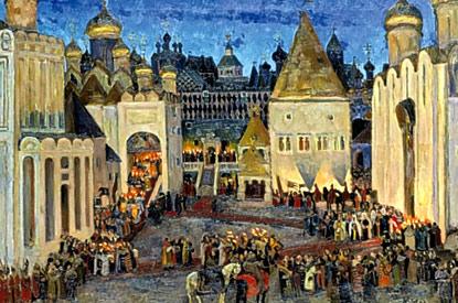 Konstantin Yuon - Mikhail Fyodorovitch coronation at 1613. Sobornaya Square. Moscow Kremlin, 1913
