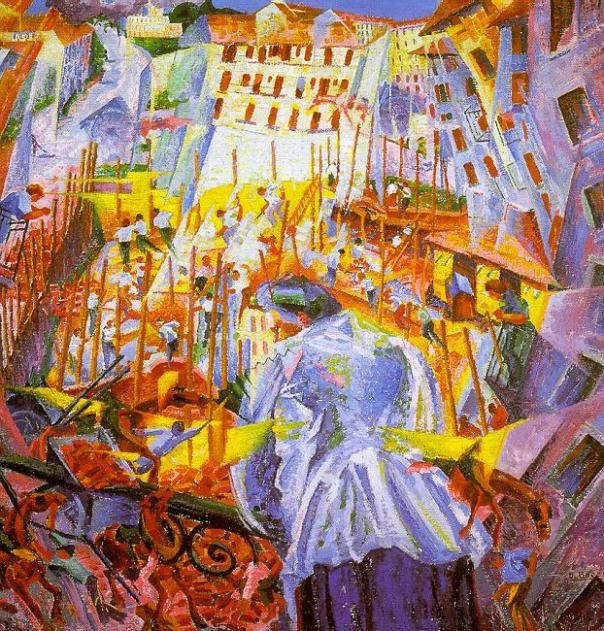Umberto Boccioni-Street invades the house