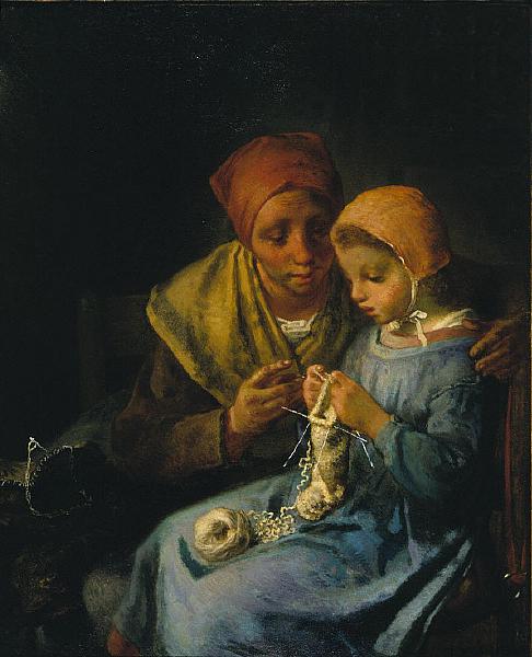 Jean-François Millet - The Knitting Lesson