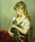 Marcel Dyf -Young Woman with a Cat