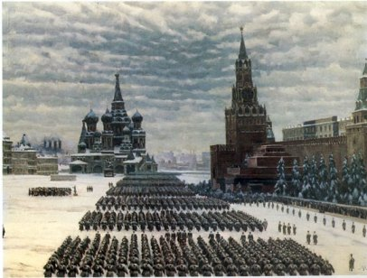 Konstantin Yuon - Parade on the Red Square on November 7, 1941
