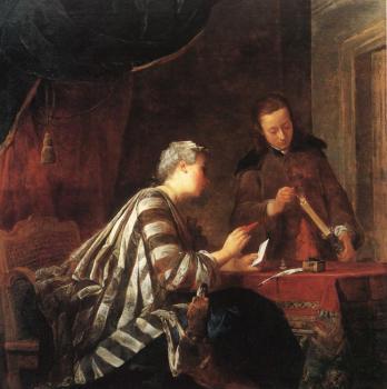 Jean-Baptiste Chardin - Lady Sealing a Letter
