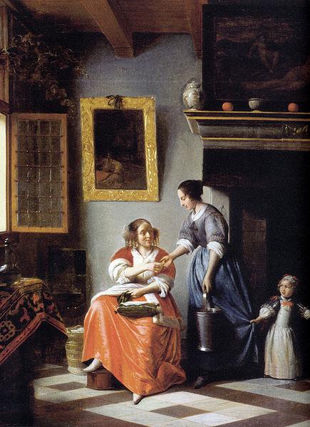 Pieter de Hooch - Woman hands over money to her servant