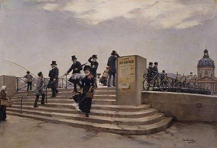 Jean Béraud - A Windy Day on the Pont des Arts