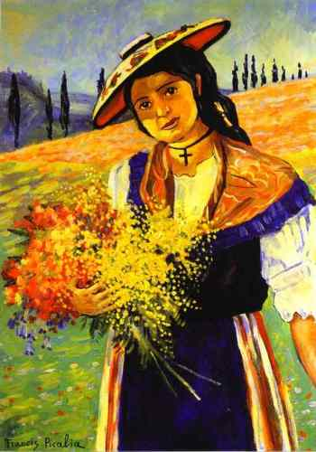 Francis Picabia - Young Girl with Flowers.Jeune fille aux fleurs