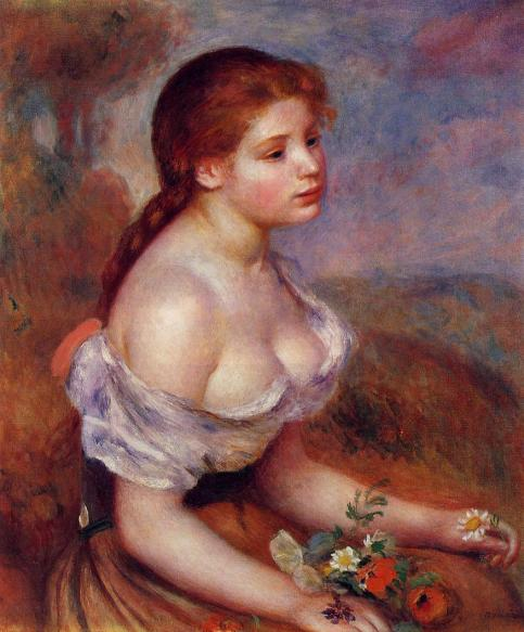 Pierre-Auguste Renoir - Young Girl with Daisies