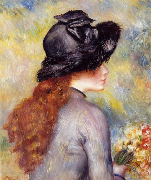 Pierre-Auguste Renoir - Young Girl Holding at Bouquet of Tulips