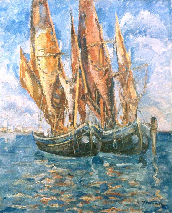 Nicolae Dărăscu - Bărci la Veneţia