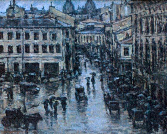 Nicolae Dărăscu - Calea Victoriei pe ploaie