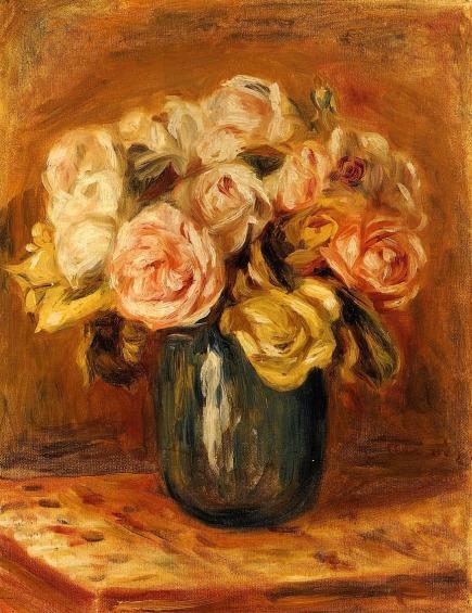 Pierre-Auguste Renoir - Roses in a Blue Vase