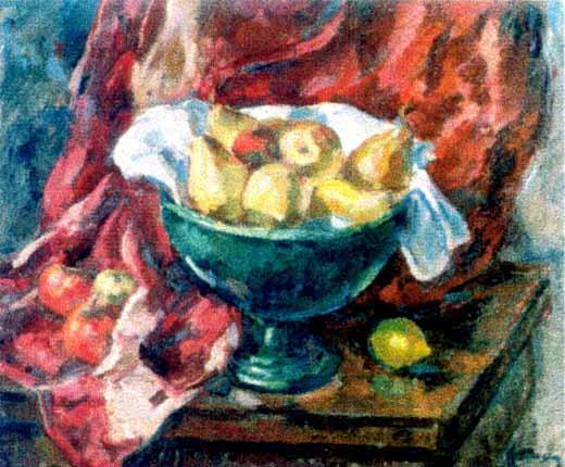 Nicolae Dărăscu - Vas verde cu fructe