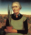 Grant Wood  - Woman with Plant