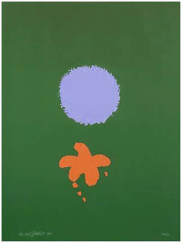 Adolph Gottlieb - Green Ground, Blue Disk