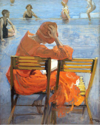 Sir John Lavery - Girl in a Red Dress Reading by a Swimming Pool