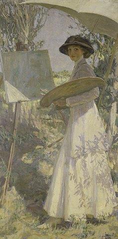 Sir John Lavery - Mrs Lavery sketching