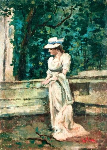 Theodor Aman - Femeie în parc