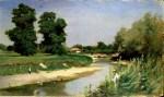 Theodor Aman.Peisaj cu râu şi copaci