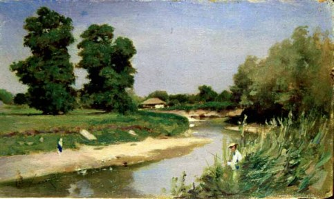 Theodor Aman - Peisaj cu râu şi copaci