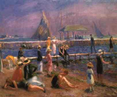 William Glackens -Town pier - Blue Point, Long Island