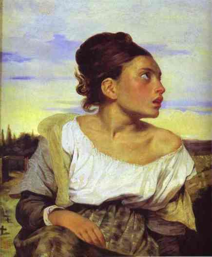 Eugène Delacroix. Girl Seated in a Cemetery