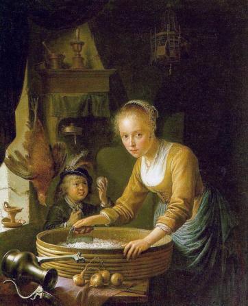 Gerrit Dou - Girl Chopping Onions