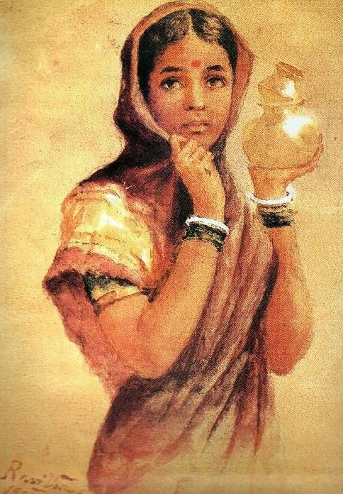 Raja Ravi Varma - North Indian girl carrying milk