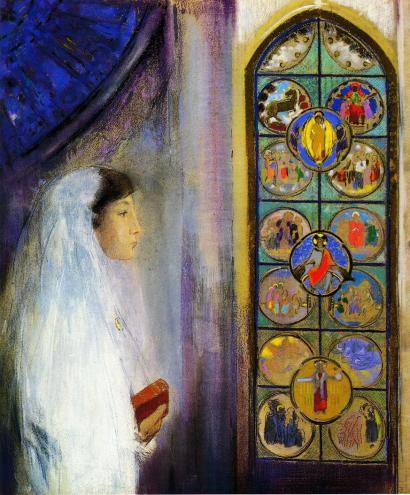 Odilon Redon - Portrait of Simone Fayet in Holy Communion