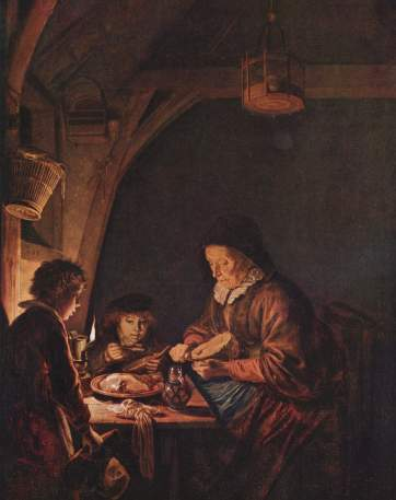 Gerrit Dou - Old Woman Cutting Bread