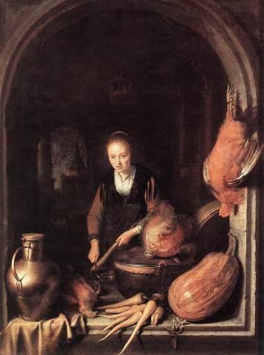 Gerrit Dou - Woman Peeling Carrot