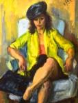 Iosif Iser - Femeie cu jachetă galbenă în fotoliu
