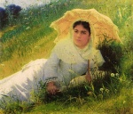 Ivan Kramskoi - Woman with an Umbrella (In the Grass, Midday), 1883