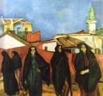 Iosif Iser - Peisaj dobrogean cu cinci turcoaice