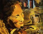 Salvador Dalí - Portrait of Gala with Two Lamb Chops Balanced on Her Shoulder
