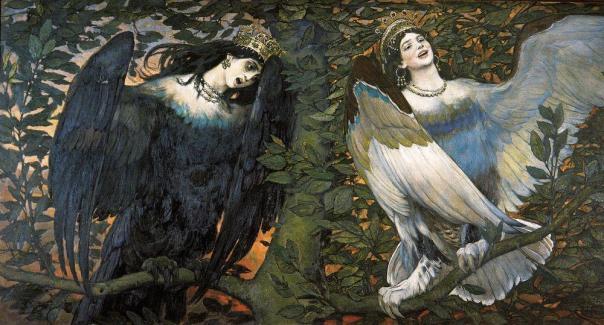 Viktor Vasnetsov - Sirin (left) and Alkonost (right) – Birds of Joy and Sorrow