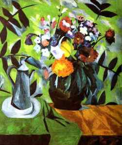Natalia Goncharova - Still life flowers coffee pot